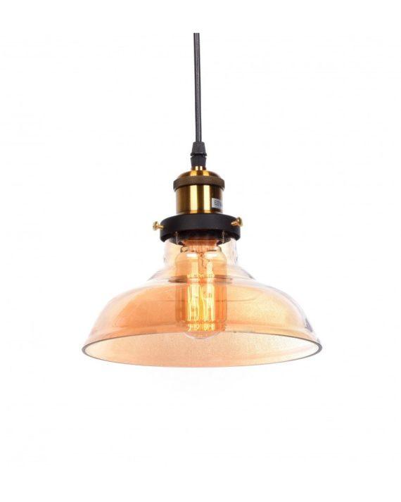 Lampadario a sospensione loft vetro ambrato