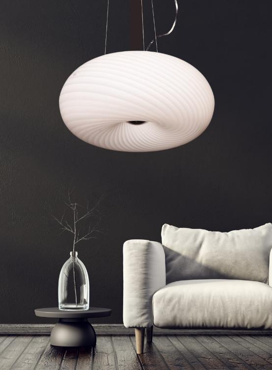 lampadario bianco salotto vetro satinato
