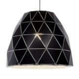 lampadario nero in metallo con paralume grande