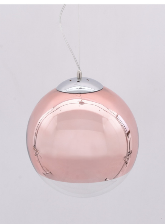 lampadario palla di vetro rosa