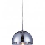 lampadario a sfera argentato cromato e trasparente con diametro di 30 cm