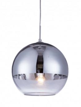 lampadario a sfera moderno argentato e trasparente
