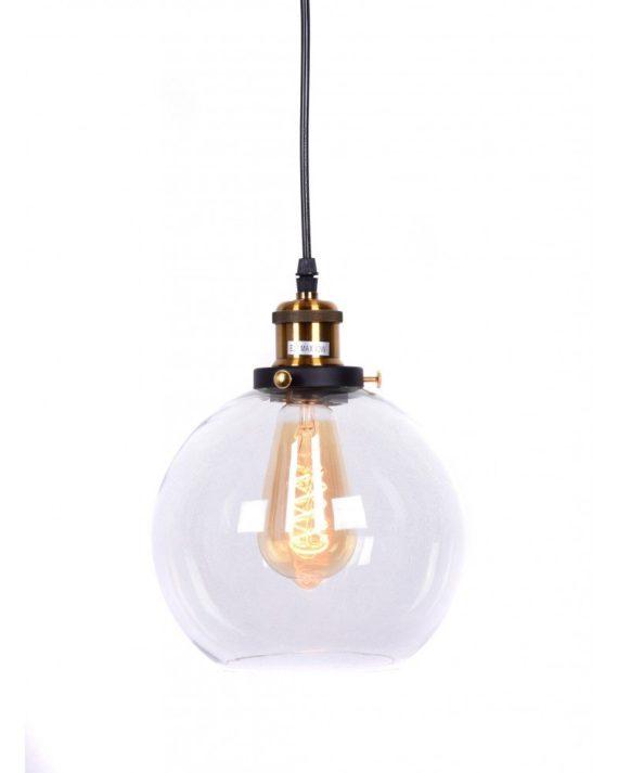 lampadario vintage navarro in vetro trasparente