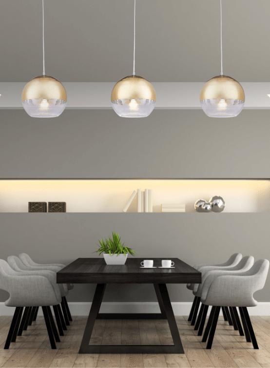 lampade a sospensione a forma di sfera da mettere sopra al tavolo da pranzo