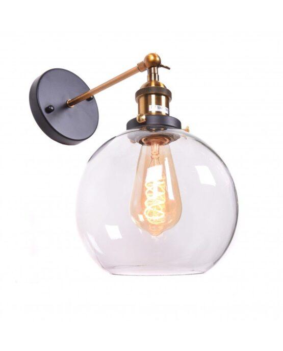 Applique a sfera di vetro trasparente per interni NAVARRO Lampadevintage.it