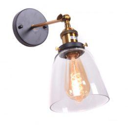 Applique da interno vintage in vetro trasparente e ottone FABI