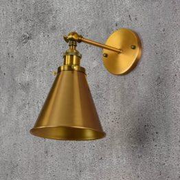 Lampada a muro in ottone con braccio snodabile design industriale 1