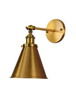 lampada a muro dorata design industriale vintage con braccio flessibile