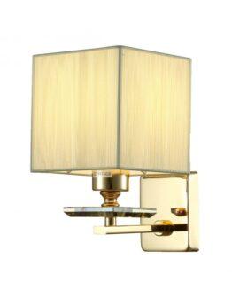 Lampada da parete a cubo dorato con paralume in organza 12