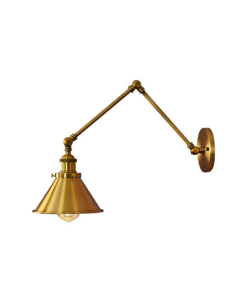 Lampada da parete vintage in ottone dorato GUBI W2 con braccio orientabile illuminazione industriale steampunk
