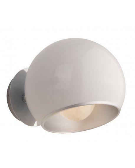 applique a parate anni 60 bianca a forma di sfera con paralume orientabile test