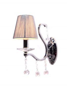 lampada da muro cromata con cristallo