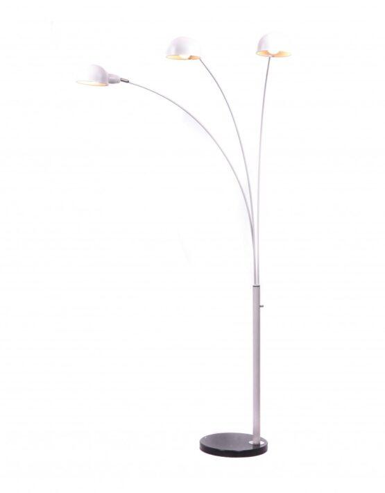 piantana di design particolare di colore bianco con tre luci orientabili led
