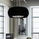 lampadario nero moderno con cristalli