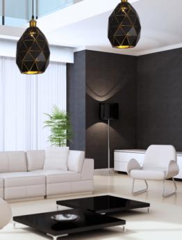 lampada a sospensione nera moderna ottone