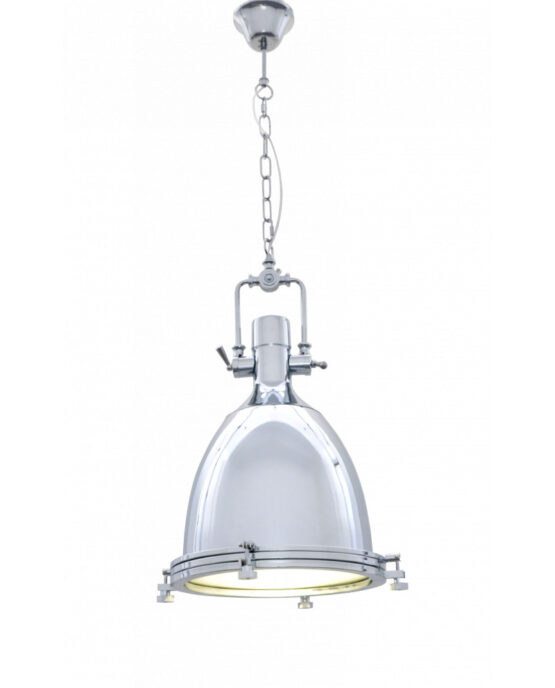 Lampada vintage a sospensione cromata