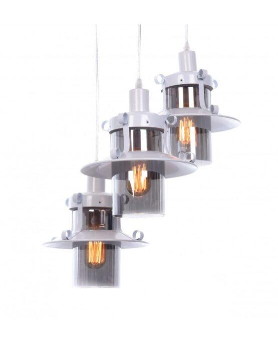 lampada a sospensione tre luci vintage bianca