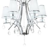 lampada classica bianca a sospensione con paralumi bianchi in tessuto