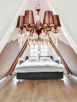 lampada classica camera da letto con cristalli 6 luci e paralume in tessuto