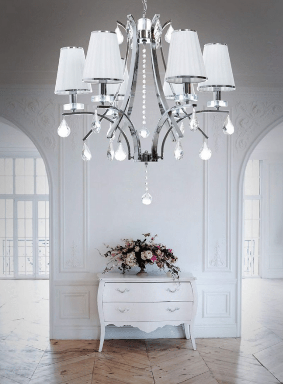 lampada classica a sospensione con cristalli bianca