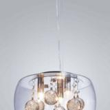 lampada moderna sfere cristallo e paralume in vetro trasparente FABINA