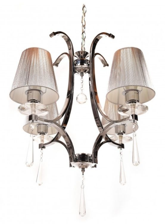 lampada paralume argento stile classico cristallo 4 luci