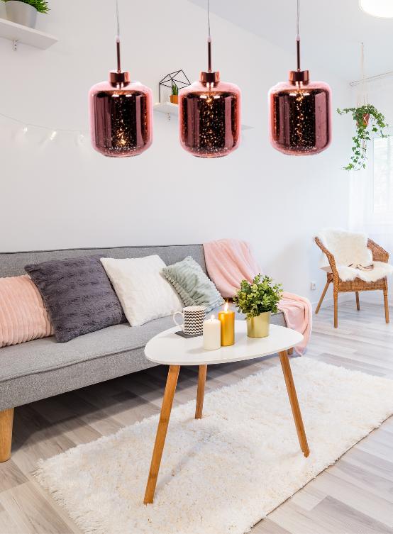 lampada salotto scandy oro rosa