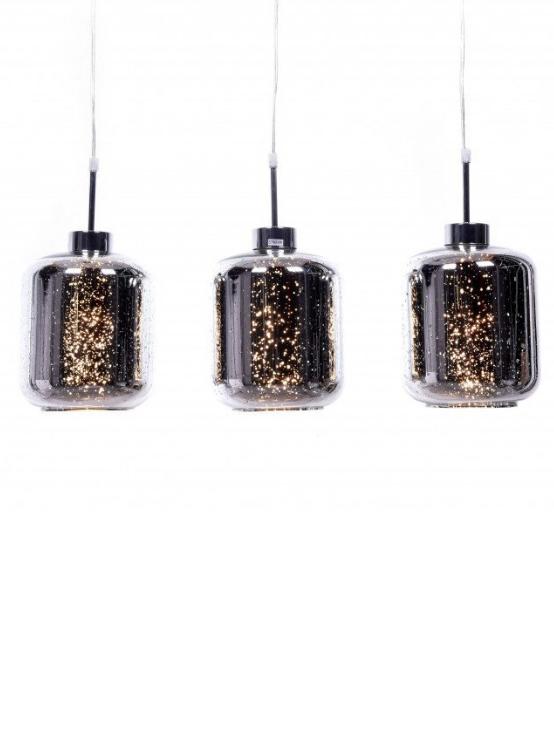 lampada argento soffitto 3 luci con paralumi in vetro