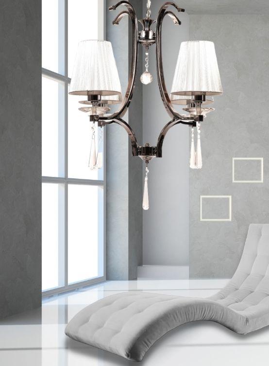 lampada a soffitto argento paralume tessuto 4 luci