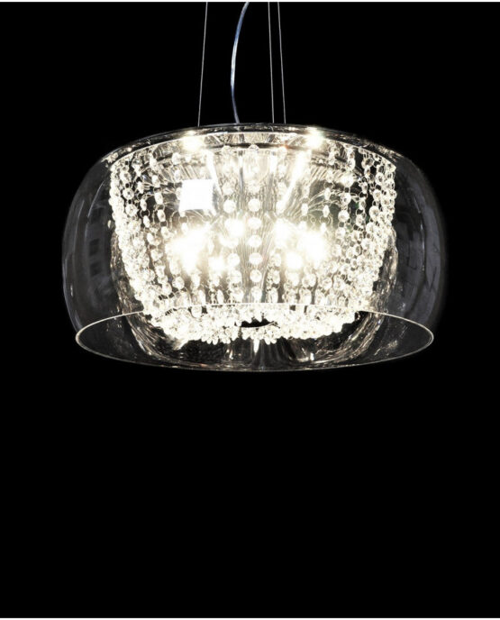 lampada a soffitto cristalli di boemia paralume vetro