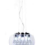 lampadario a soffitto con cristalli e paralume vetro