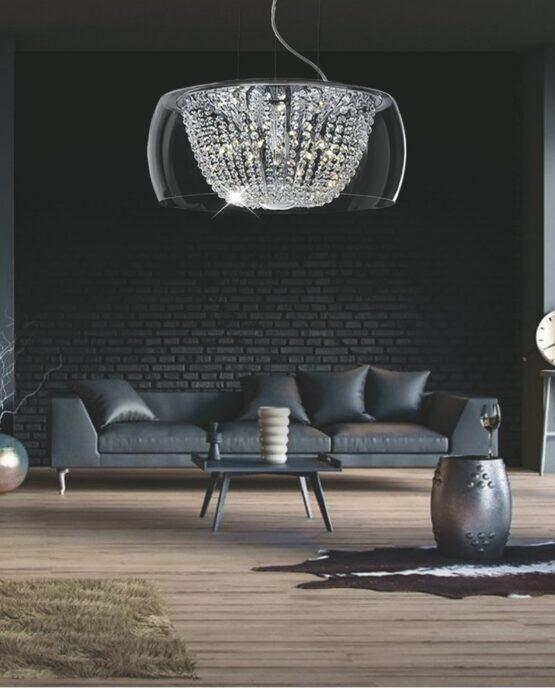 lampada a soffitto in vetro con cristalli stile moderno