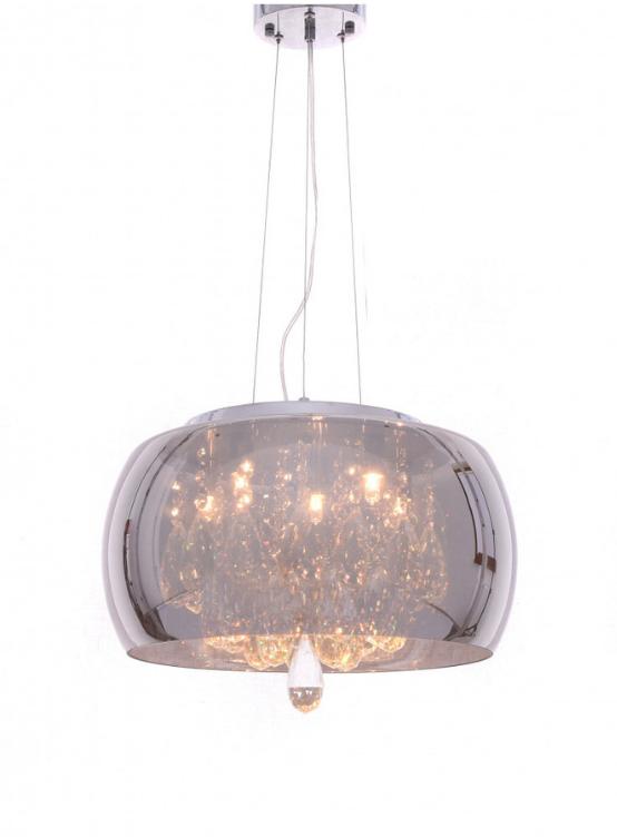 lampada soffitto vetro cromato con cristalli