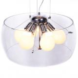 lampadario da soffitto vetro trasparente moderno 6 luci