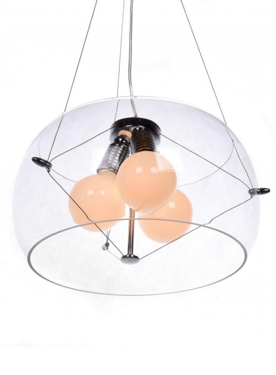 lampada a soffitto in vetro trasparente
