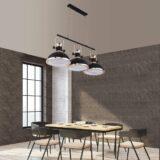 lampada soggiorno in stile industriale color nero 3 luci