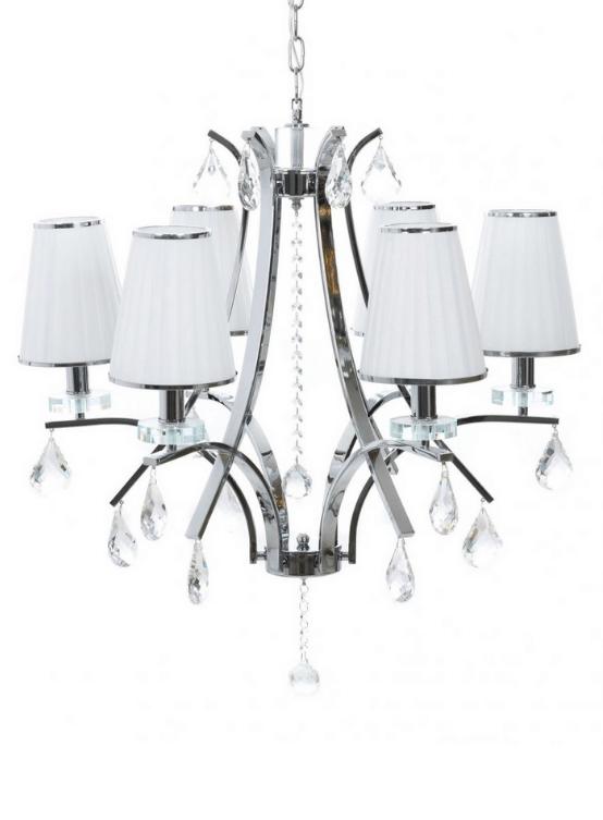 lampada sospensione 6 luci classiche bianca