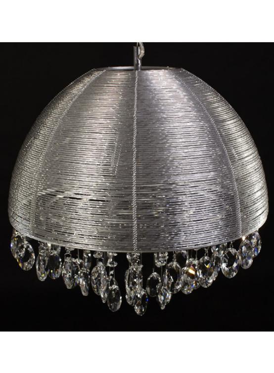 paralume lampada sospensione argento con cristalli