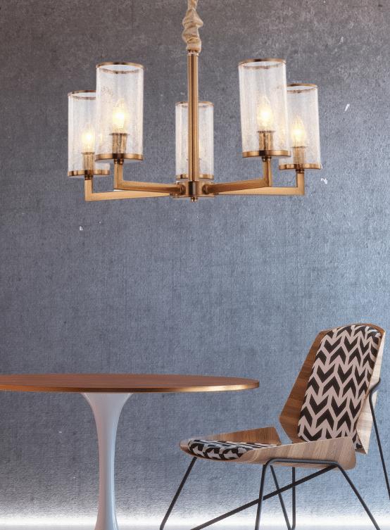 lampada a sospensione classica moderna a 5 luci con struttura in ottone