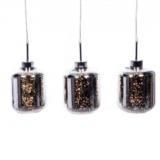 lampada sospensione color argento con paralume 3 luci