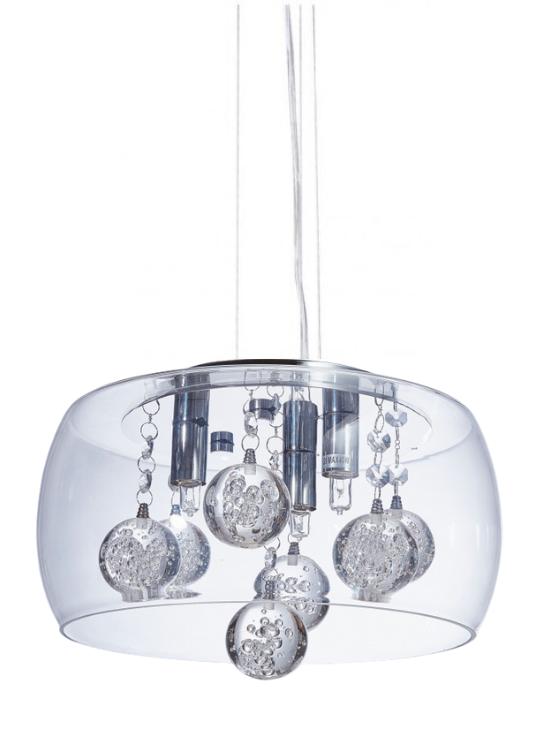 lampada a sospensione moderna con sfere in cristallo luce led fabina
