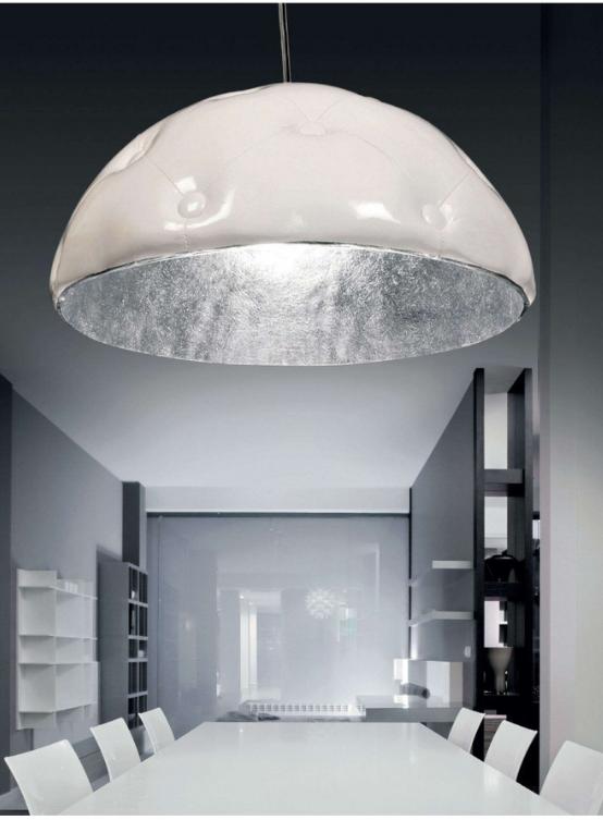 lampada a sospensione paralume bianco in pelle borchiata