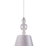 lampada sospensione paralume tessuto argento