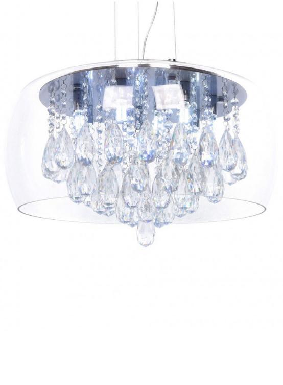 lampada a soffitto vetro e cristalli paralume trasparente