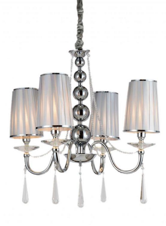 lampadari classici argento a sospensione con cristalli pendenti 4 luci