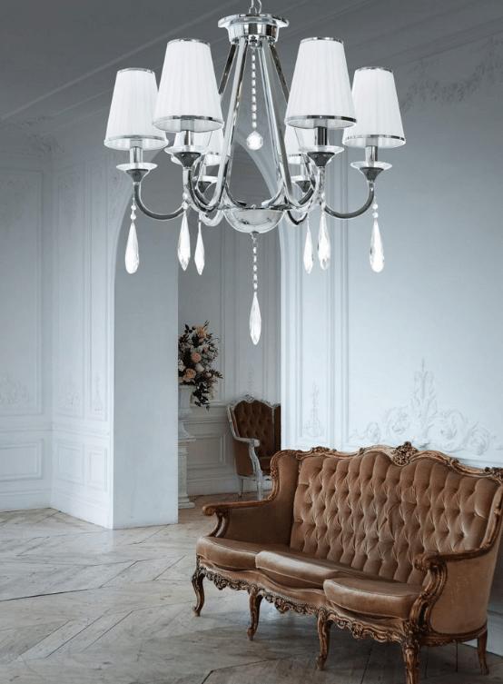 lampadari classici cristallo 6 luci con paralume plissettato