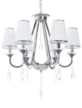 lampadari cristallo classici con paralume bianco tessuto plissettato