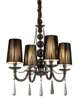 lampadari classici neri 4 luci con gocce di critallo