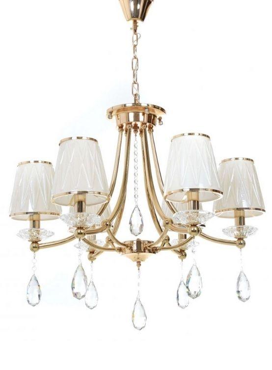 lampadari classici oro e paralumi vetro bianco con gocce di cristallo pendenti