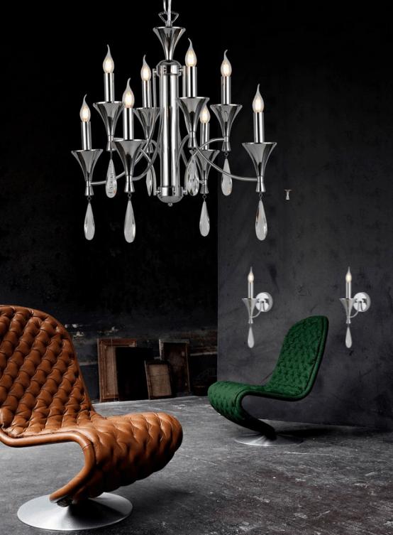 lampadari classici e applique coordinate in metallo cromato